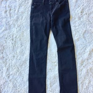 7 For All Mankind - Straight Leg Black Jeans